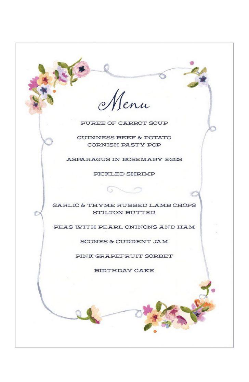 Free Printable Dinner Party Menu Template