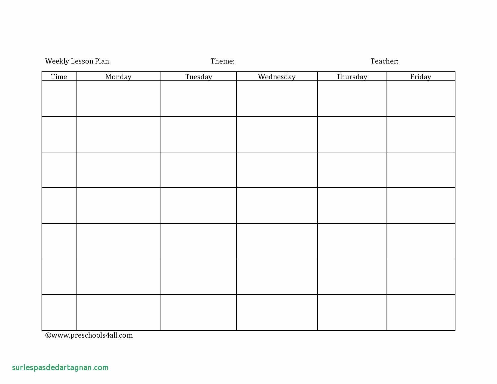 020 Pre K Lesson Plan Template Weekly Teacher Planner Lovely Daycare - Free Printable Daycare Menus