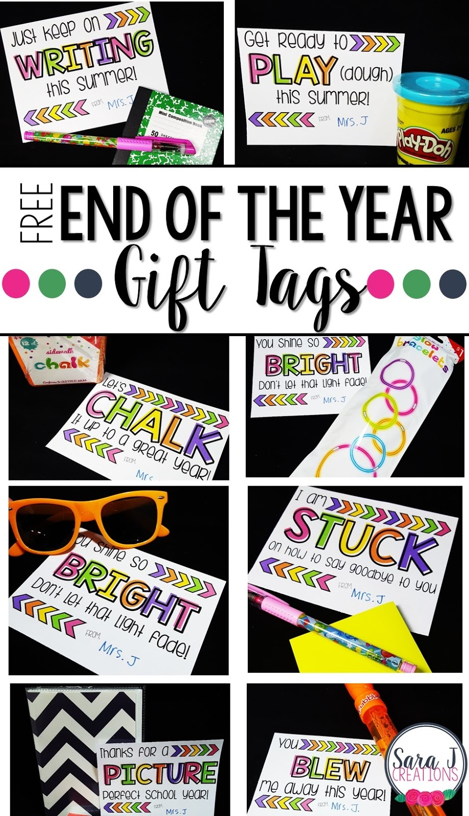 10 Free End Of The Year Student Gift Tags | Sara J Creations - Free Printable Gift Tags For Bubbles
