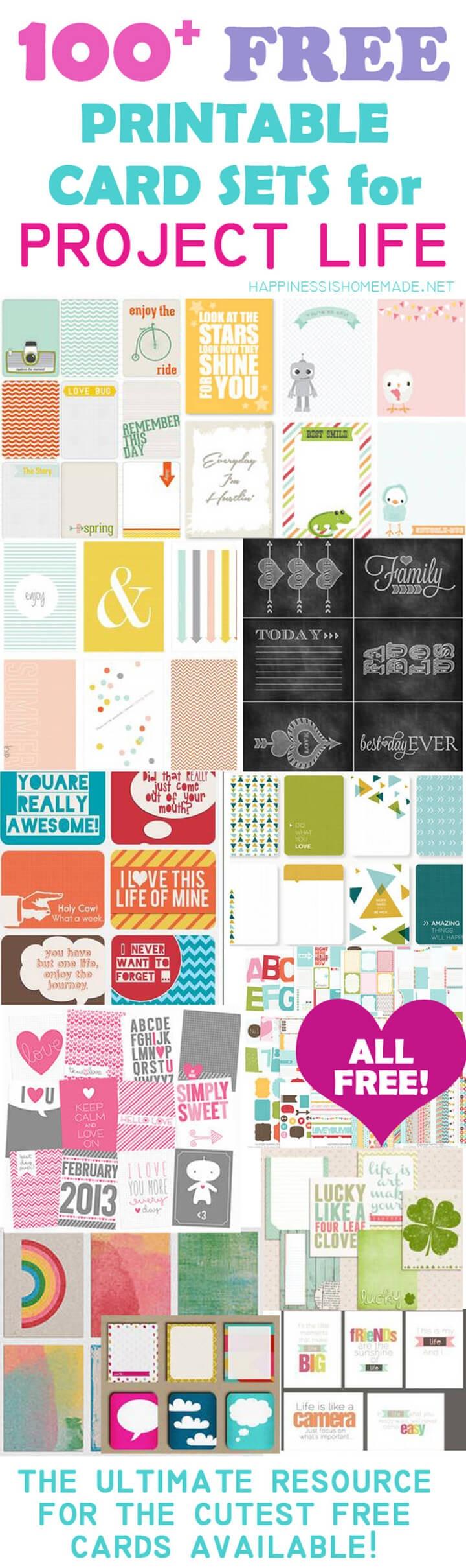 100+ Free Printable Project Life Journaling Card Insert Sets - Free Printable Scrapbook Stuff