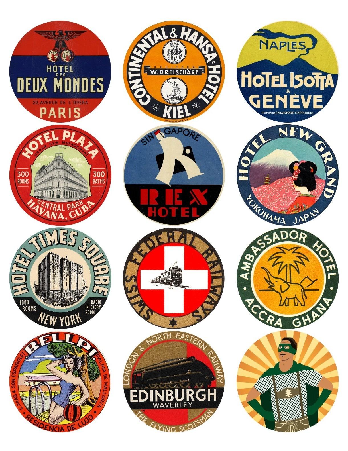 12 Vintage Travel Stickers: World Mix (Free Download) - Vintralab - Free Printable Travel Stickers
