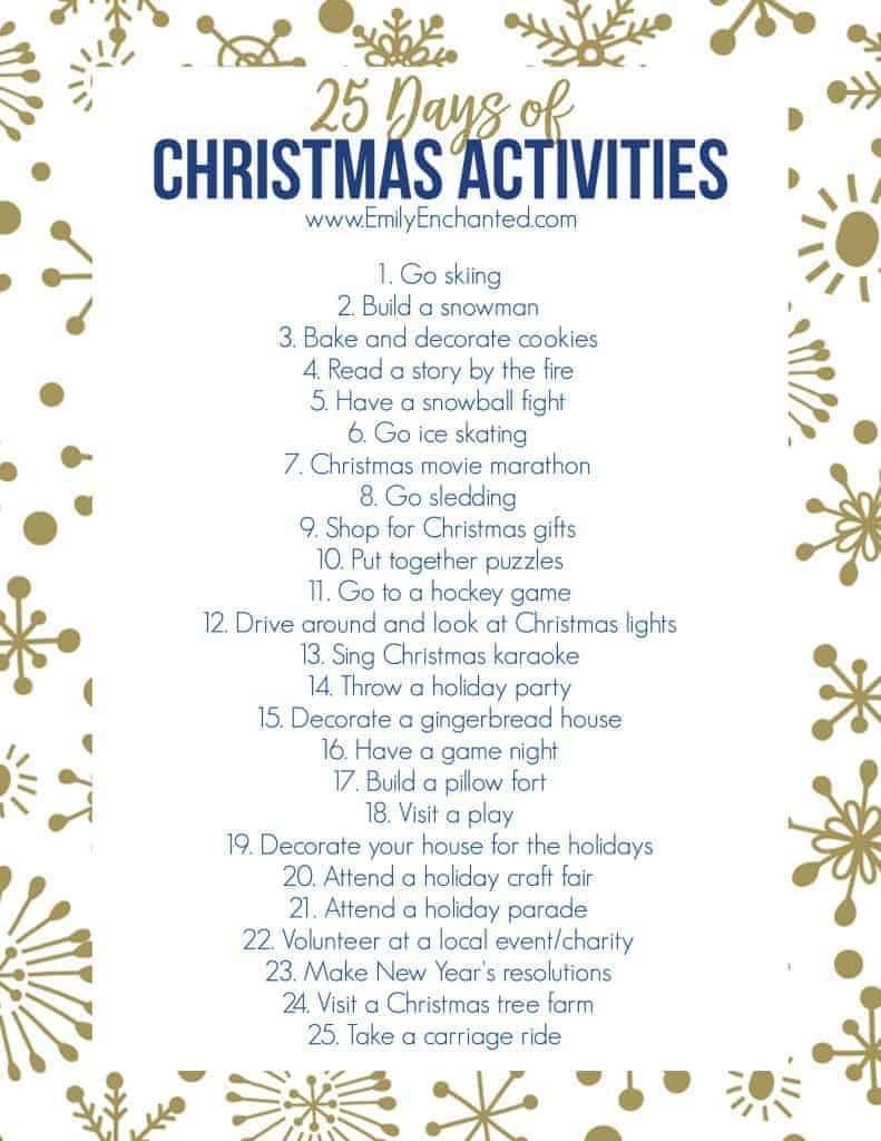 25 Days Of Christmas Activities Printable   Free Printable - Free Printable Christmas Activities