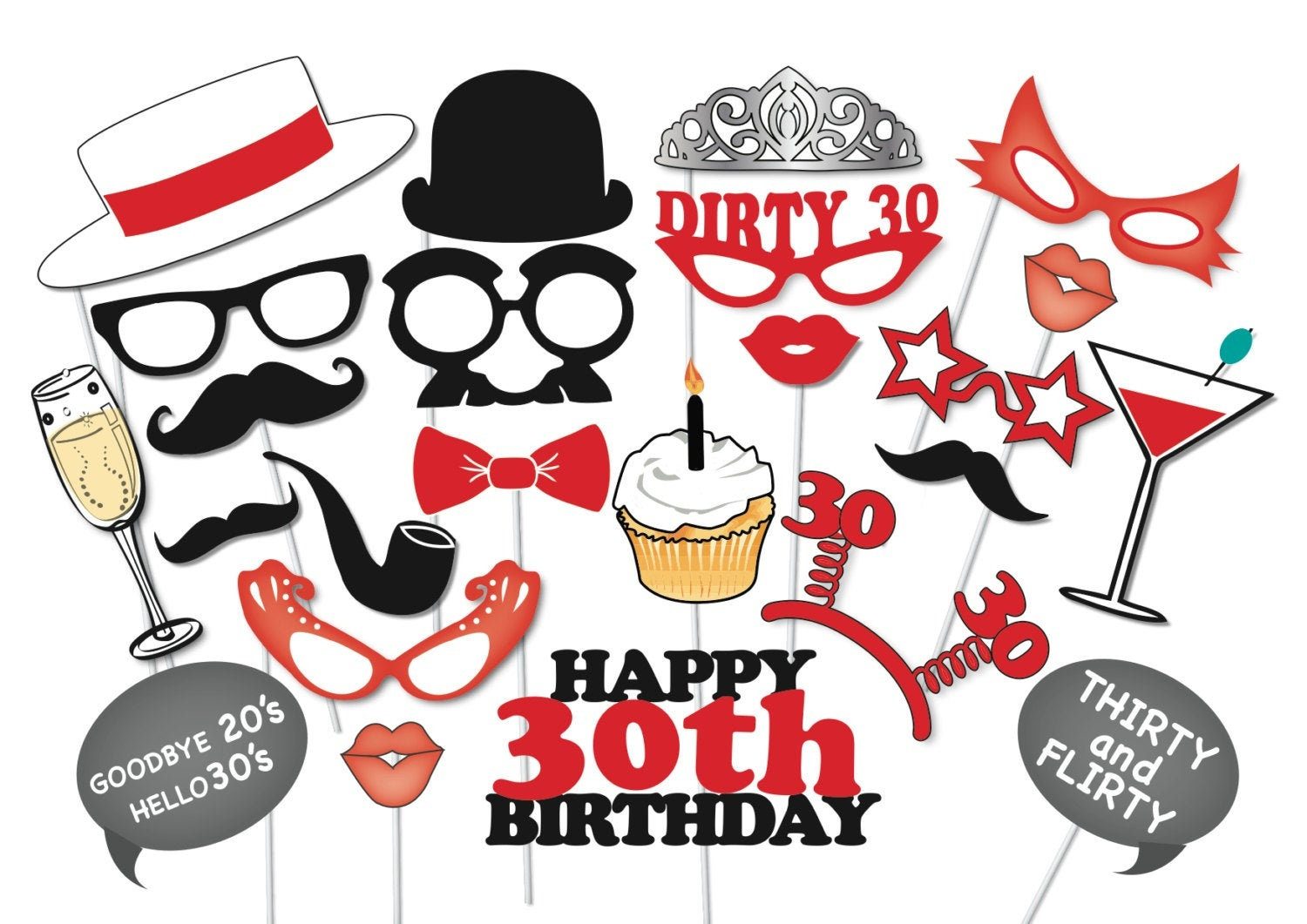 30Th Birthday Photobooth Party Props Set 26 Piece Printable | Etsy - Free Printable 30Th Birthday Photo Booth Props