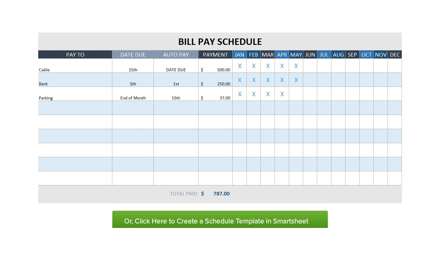 32 Free Bill Pay Checklists & Bill Calendars (Pdf, Word & Excel) - Free Printable Bill Payment Schedule