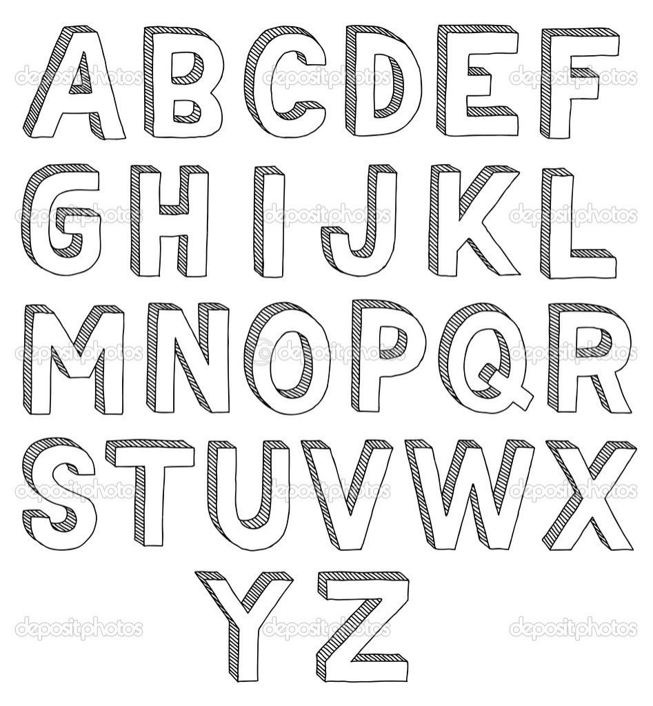 3D Letters Drawing How To Draw 3D Letters A Z – Pencil Art Drawing - Free Printable 3D Letters