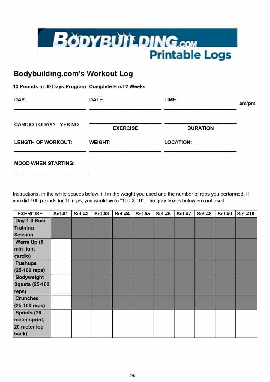 40+ Effective Workout Log & Calendar Templates ᐅ Template Lab - Free Printable Workout Plans