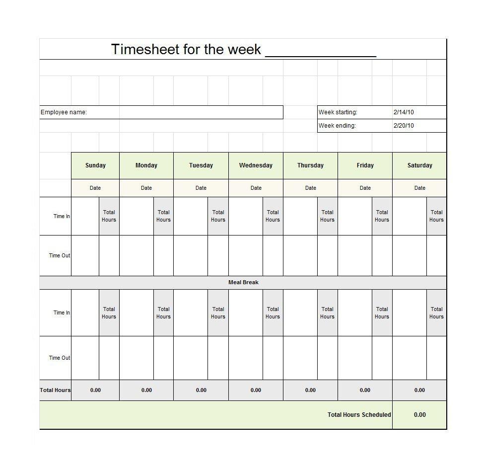 40 Free Timesheet / Time Card Templates ᐅ Template Lab - Timesheet Template Free Printable