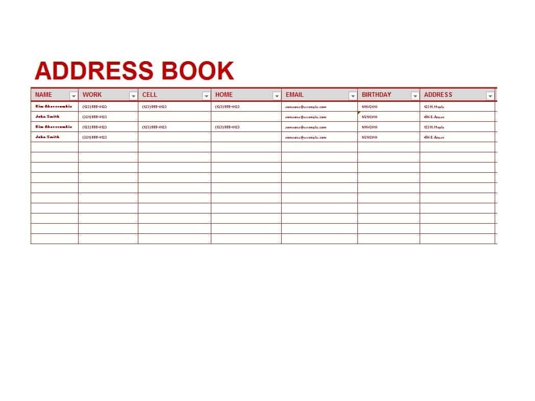 40 Printable & Editable Address Book Templates [101% Free] - Free Printable Address Book Software