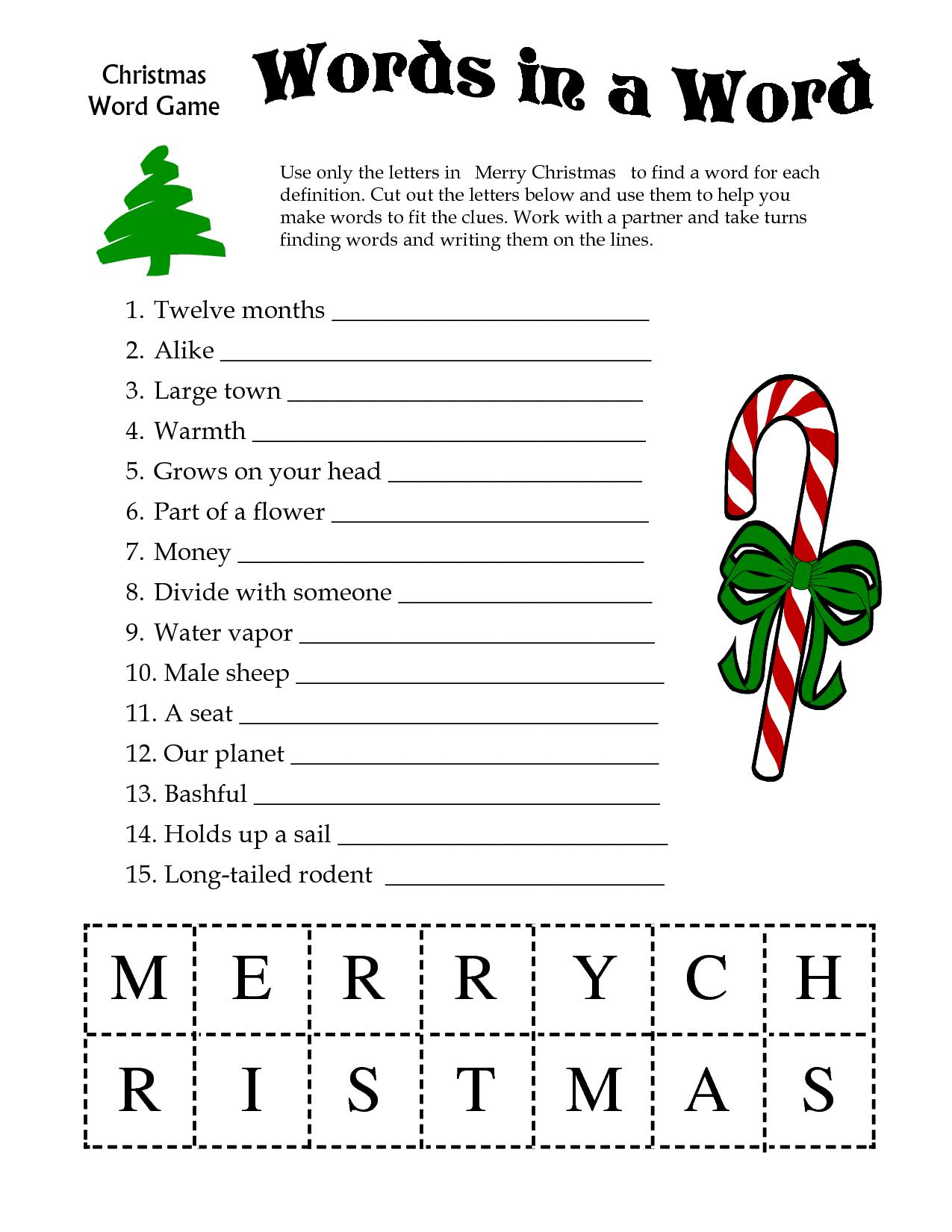 5 Images Of Free Printable Christmas Word Games | Printablee - Free Printable Christmas Puzzle Sheets