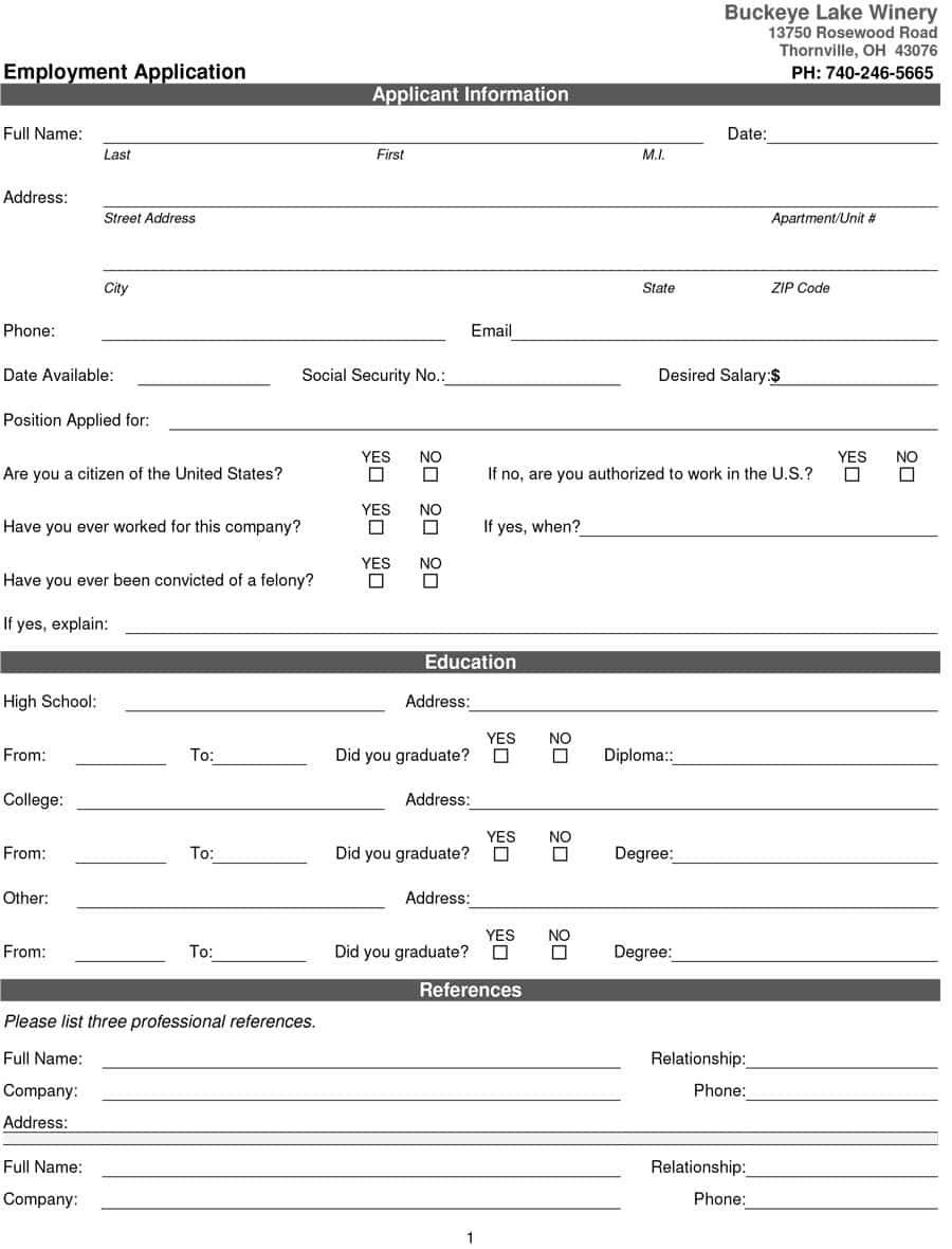 50 Free Employment / Job Application Form Templates [Printable] ᐅ - Free Printable Job Application