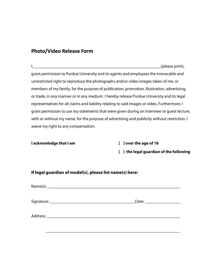 53 Free Photo Release Form Templates [Word, Pdf] ᐅ Template Lab - Free Printable Photo Release Form