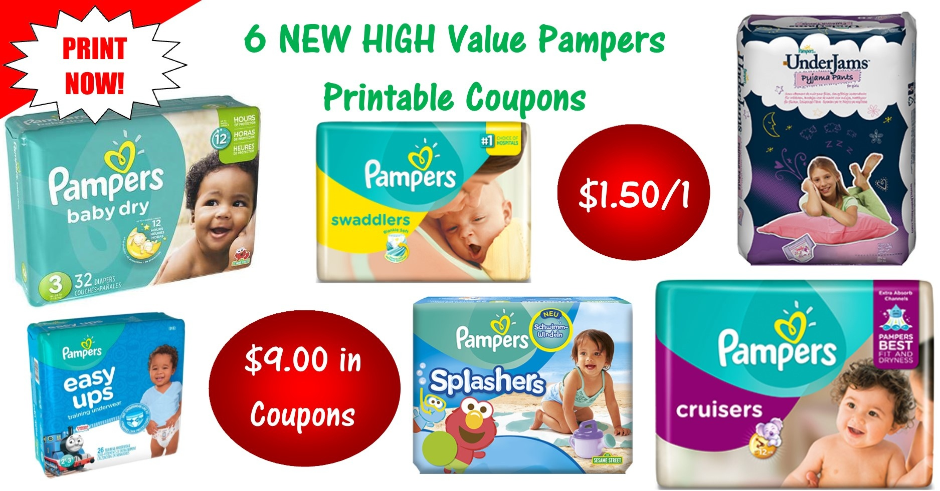 6 Pampers Printable Coupons ~ Print Now! $9 In Savings! - Free Printable Coupons For Baby Diapers