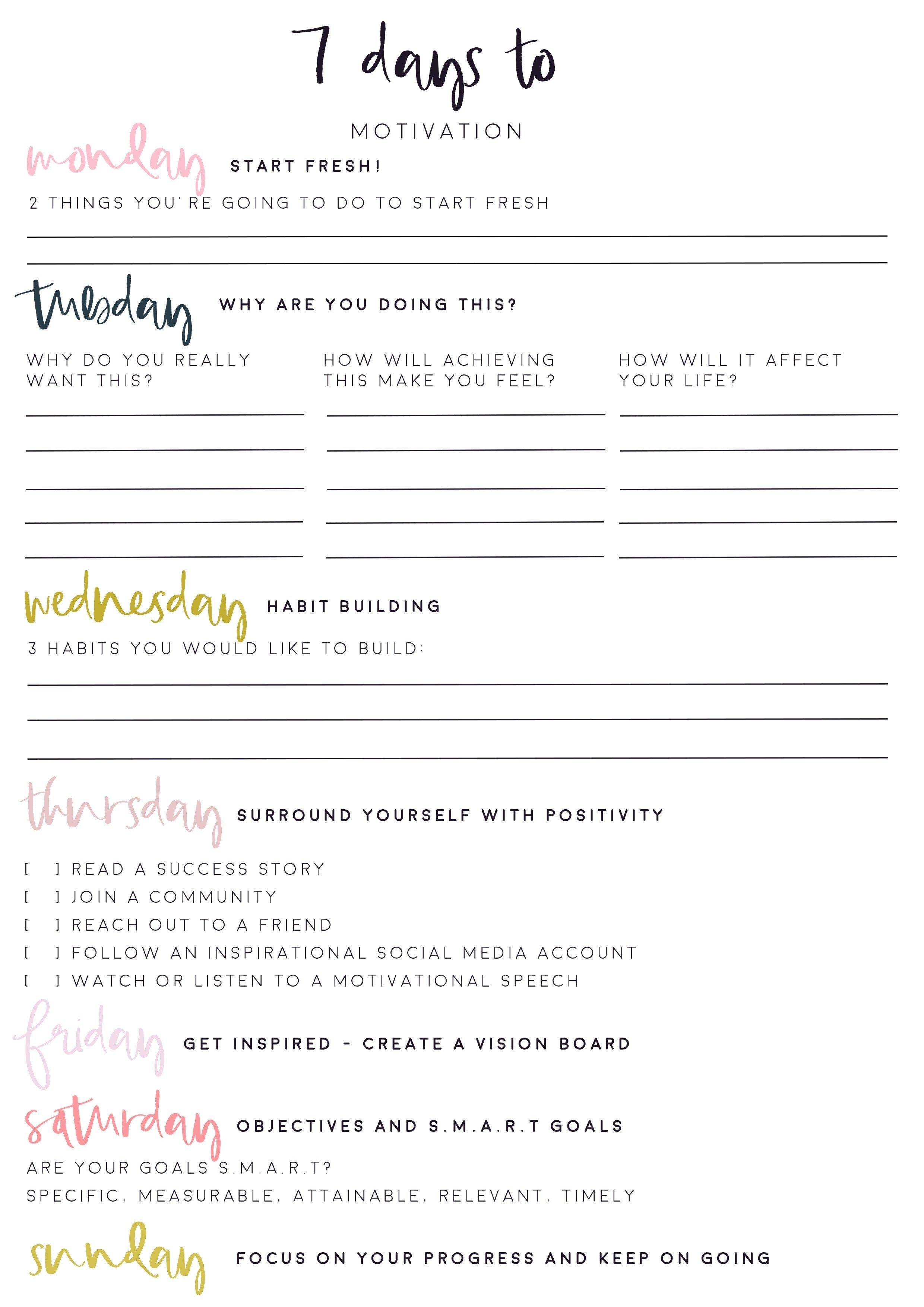 7 Days To Get Motivated! Free Motivational Worksheet Printable - Free Printable Fitness Worksheets