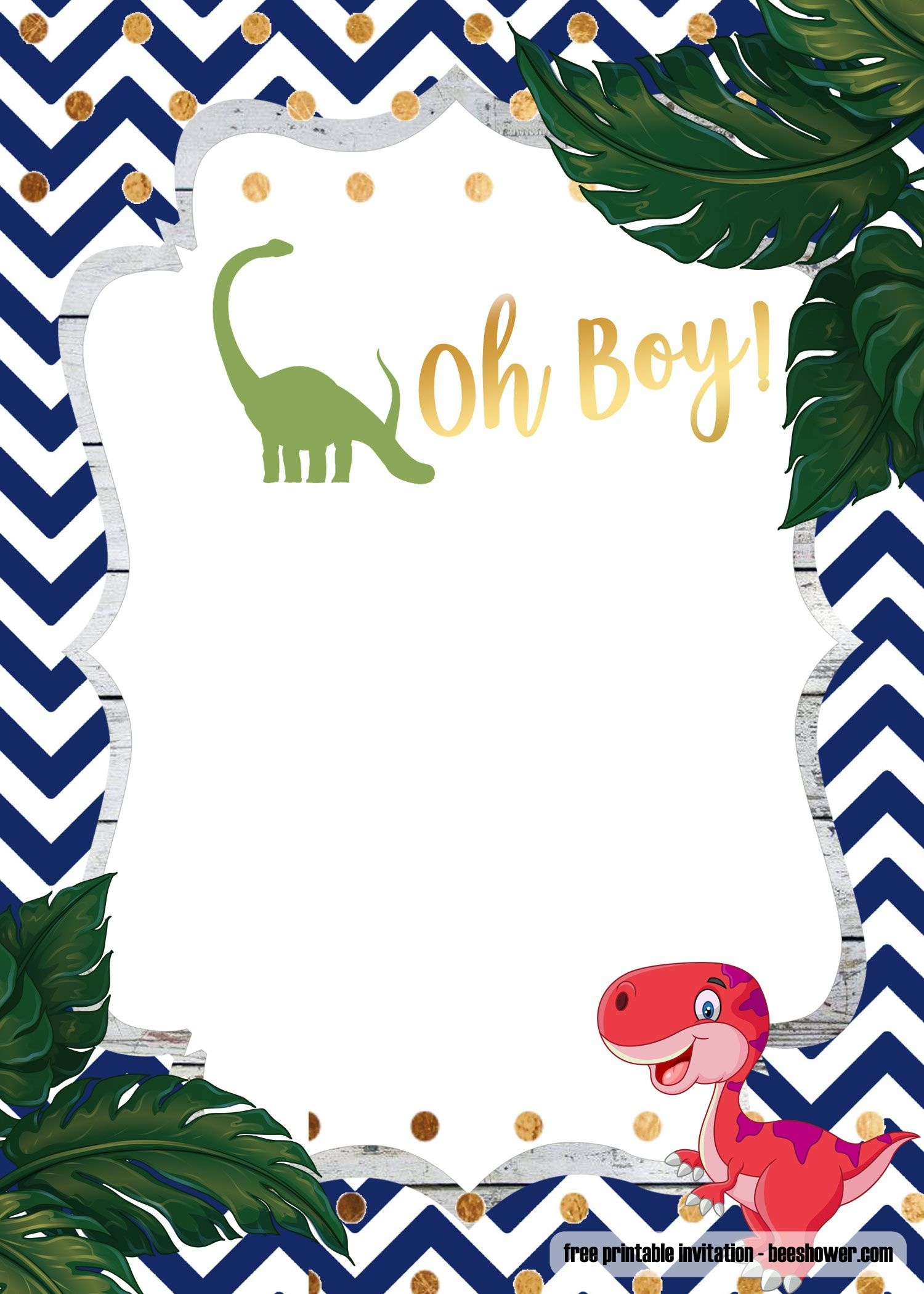 A Dinosaur Template For Your Baby Shower   Baby Shower   Baby - Free Printable Dinosaur Baby Shower Invitations