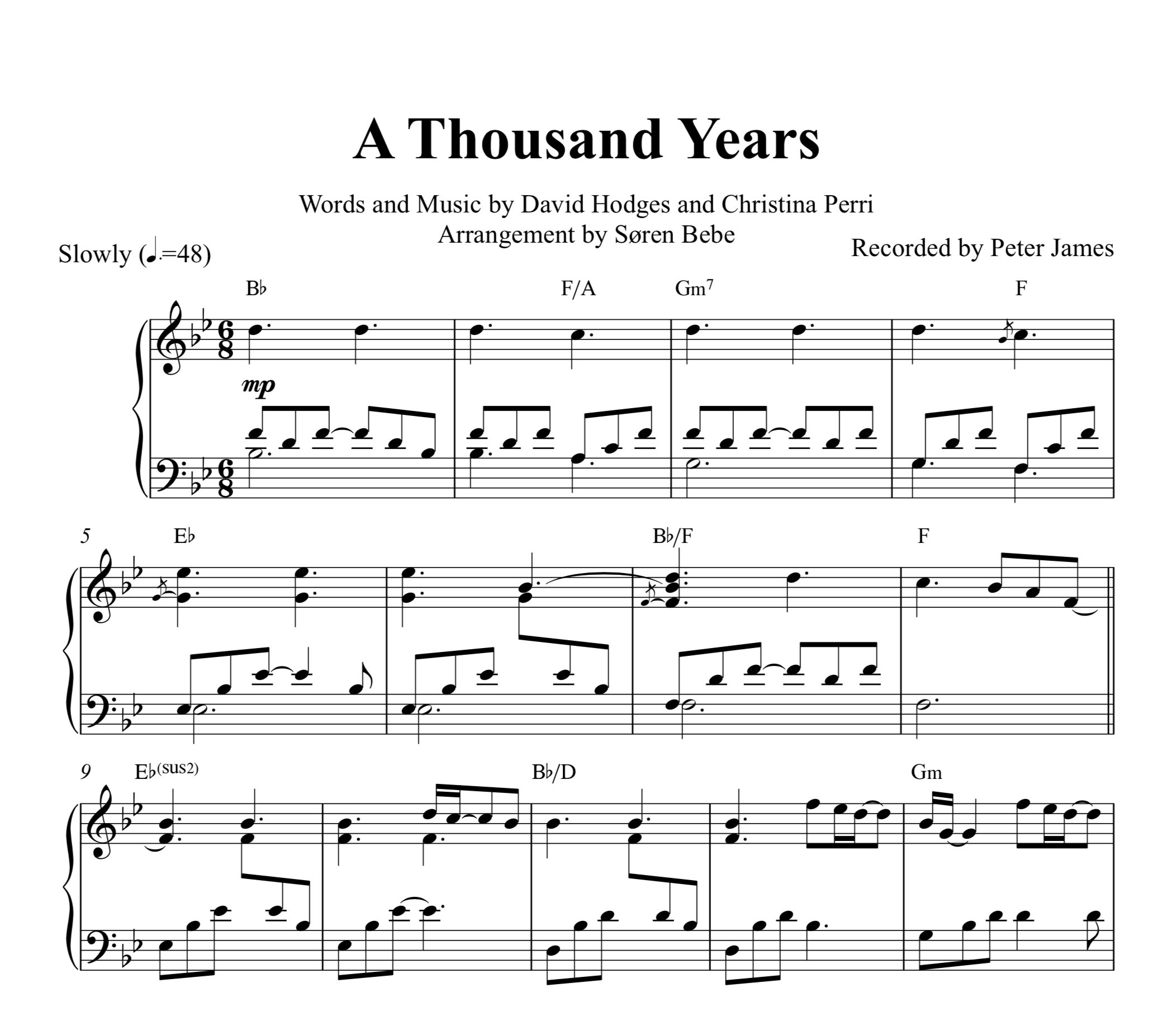 A Thousand Years (Christina Perri) Piano Sheet Music (Pdf) | Music - Free Printable Music Sheets Pdf