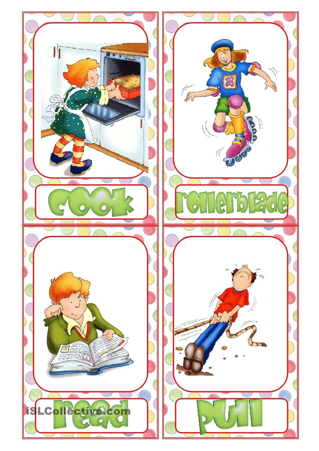 Action Verb Flashcards | Reading & Writing | Action Verbs, English - Free Printable Spanish Verb Flashcards