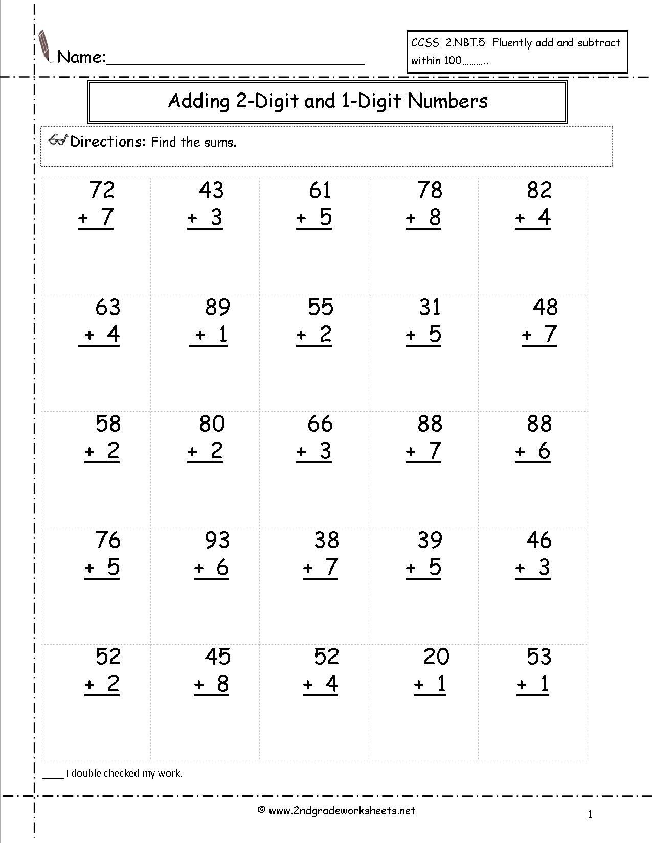Adding Two Digit And One Digit Numbers | Satta | 2Nd Grade Math - Free Printable Two Digit Addition Worksheets