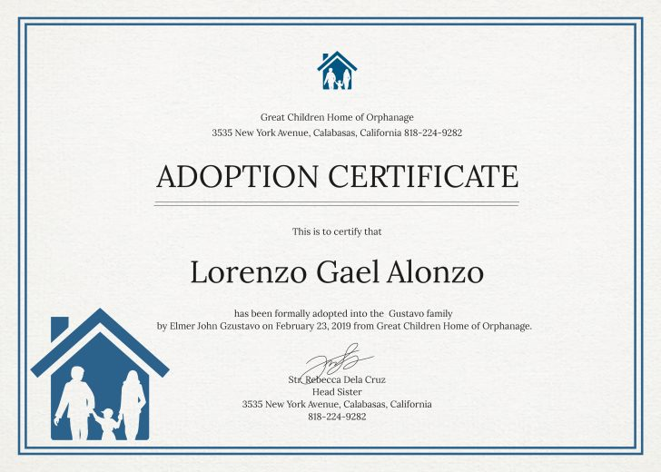 Free Printable Adoption Certificate