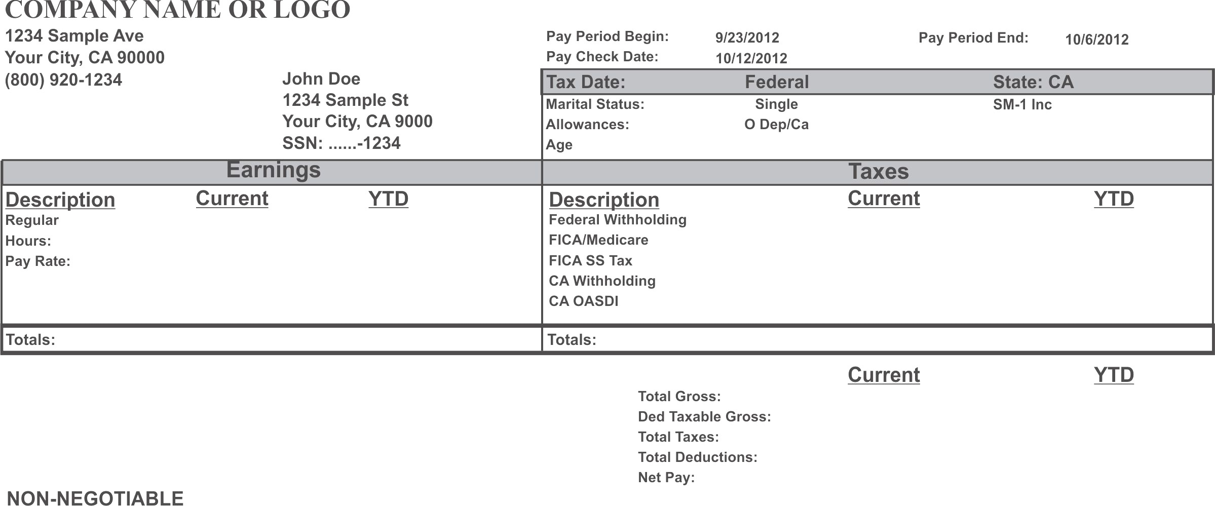 Adp Pay Stub Template Free - Free Printable Pay Stubs Online