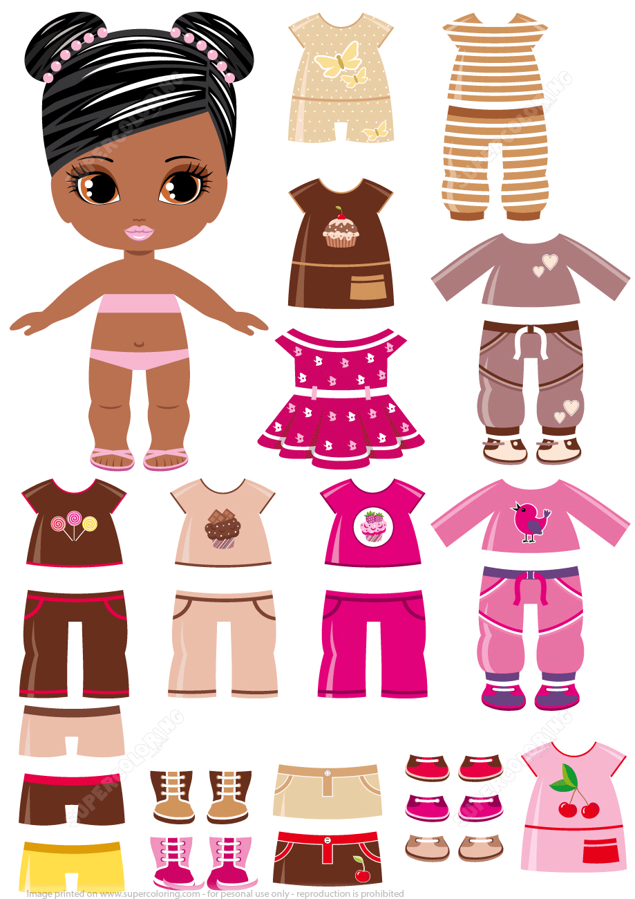 African-Amercian Girl With A Set Of Summer Clothing From Dress Up - Free Printable Dress Up Paper Dolls