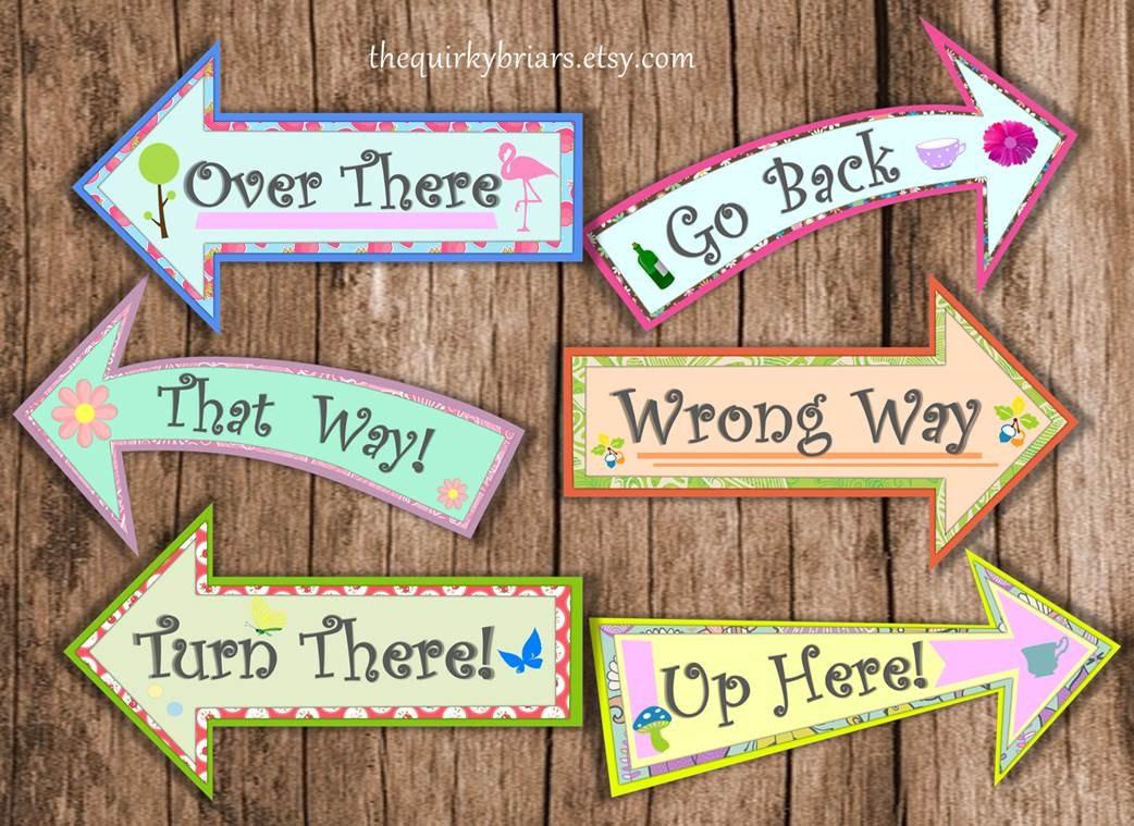 Alice In Wonderland Mad Hatter Tea Party Large Arrow Signs | Etsy - Alice In Wonderland Signs Free Printable