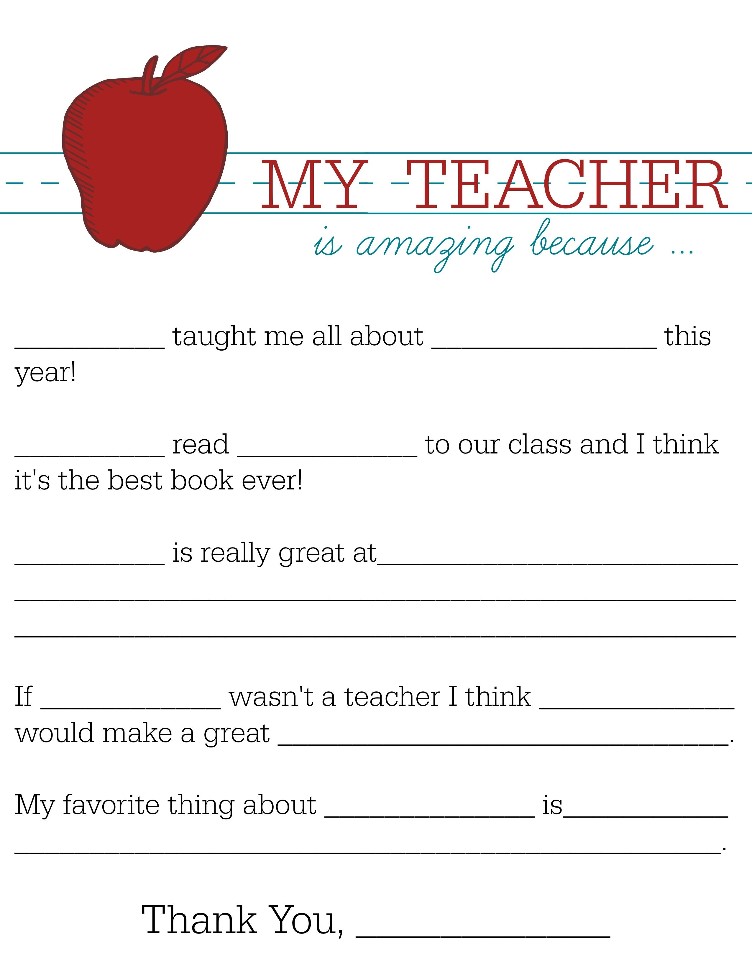 All About My Teacher   Parents: Raise A Reader Blog   Teacher - All About My Teacher Free Printable