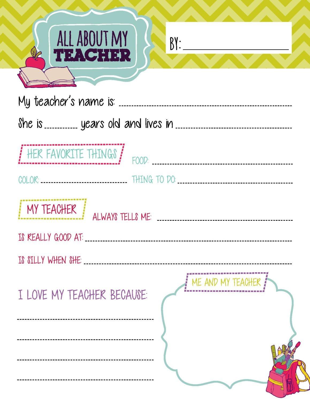All About My Teacher Questionnaire Printablestealolivedesigns - All About My Teacher Free Printable