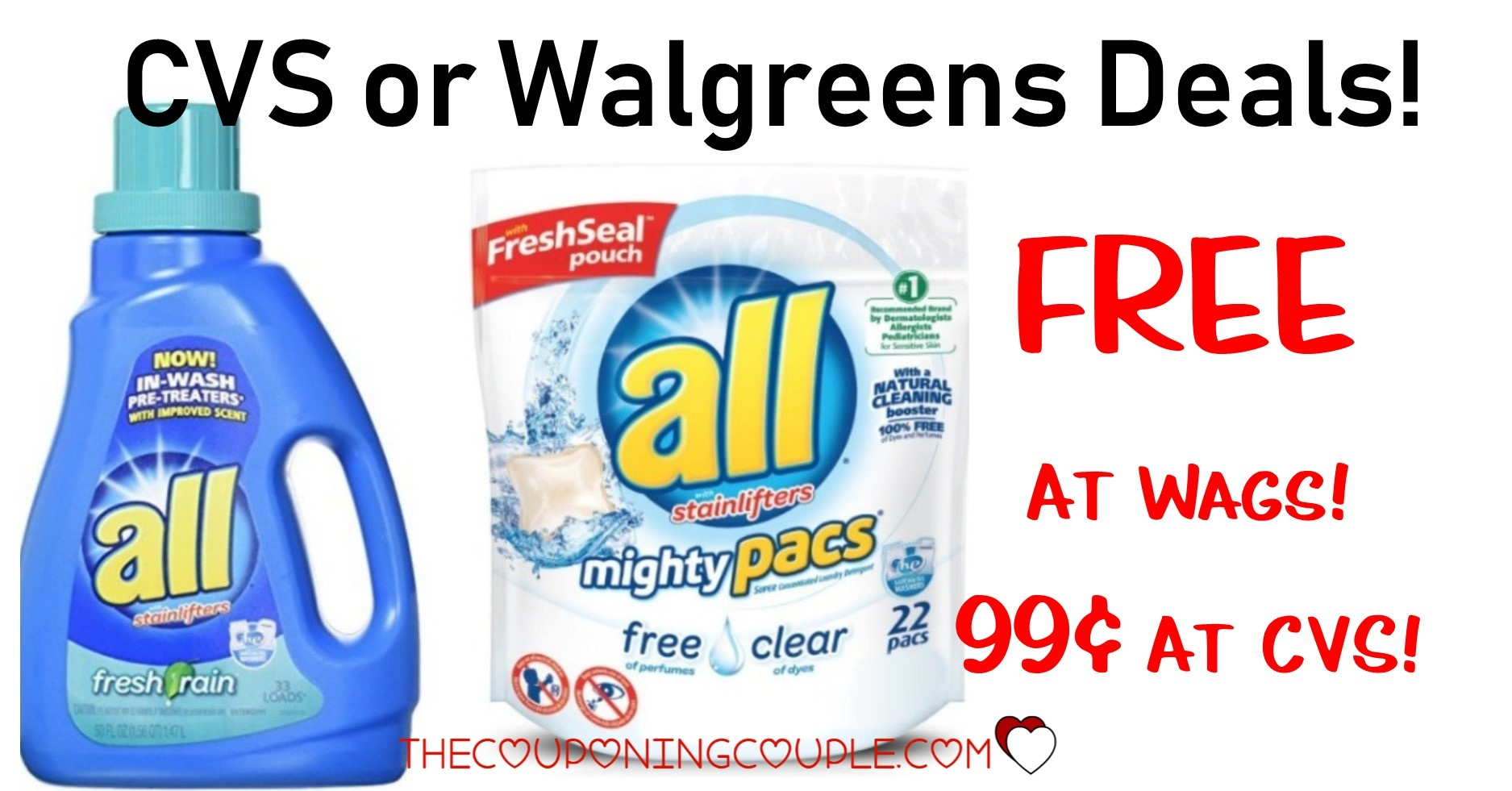 All Laundry Detergent Deal - Free At Walgreens Or $0.99 At Cvs! - Free All Detergent Printable Coupons