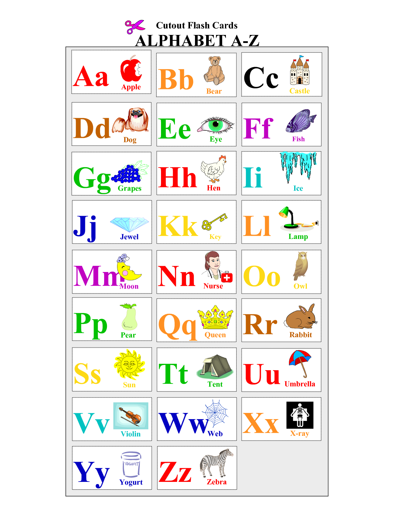 Alphabet-Flash-Cards-To-Print - Coloring Pages For Adults,coloring - Free Printable Alphabet Cards With Pictures