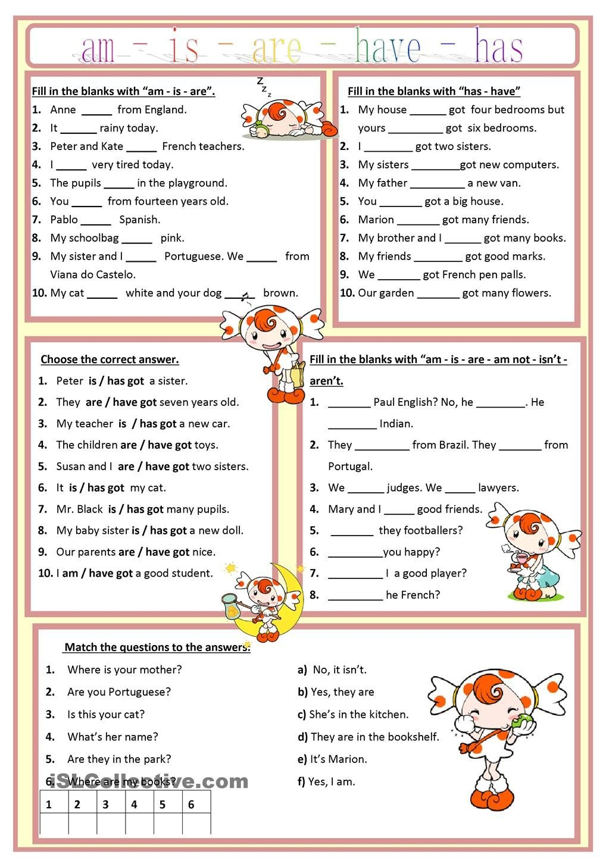 Am, Is, Are, Has, Have Worksheet - Free Esl Printable Worksheets - Free Printable Esl Worksheets For High School