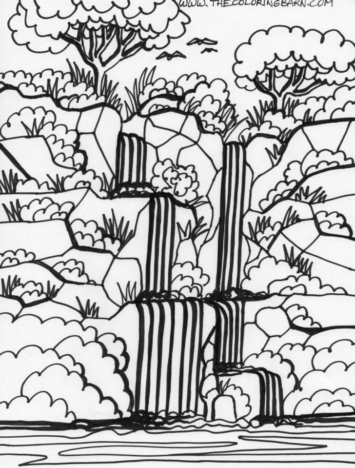 Free Printable Waterfall Coloring Pages