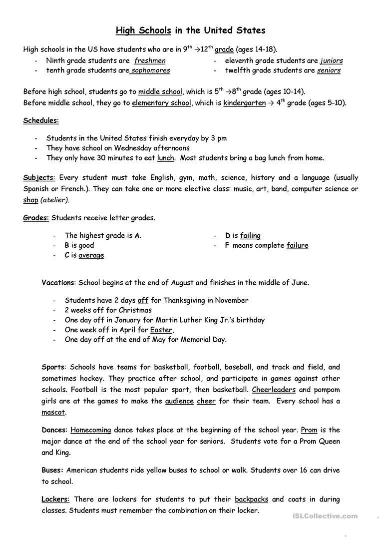 American High Schools Worksheet - Free Esl Printable Worksheets Made - Free Printable Esl Worksheets For High School