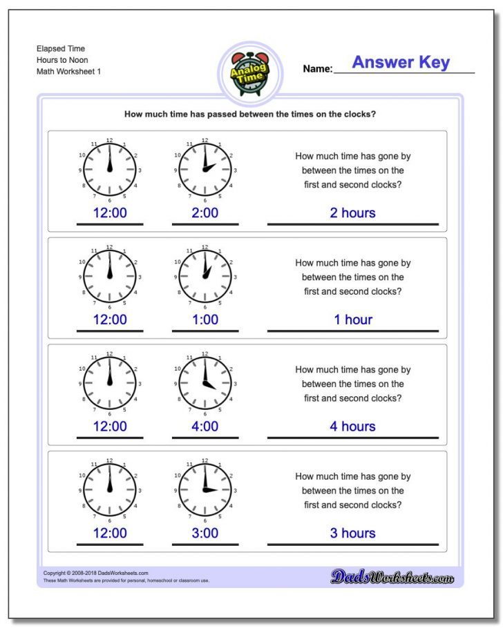 Elapsed Time Worksheets Free Printable
