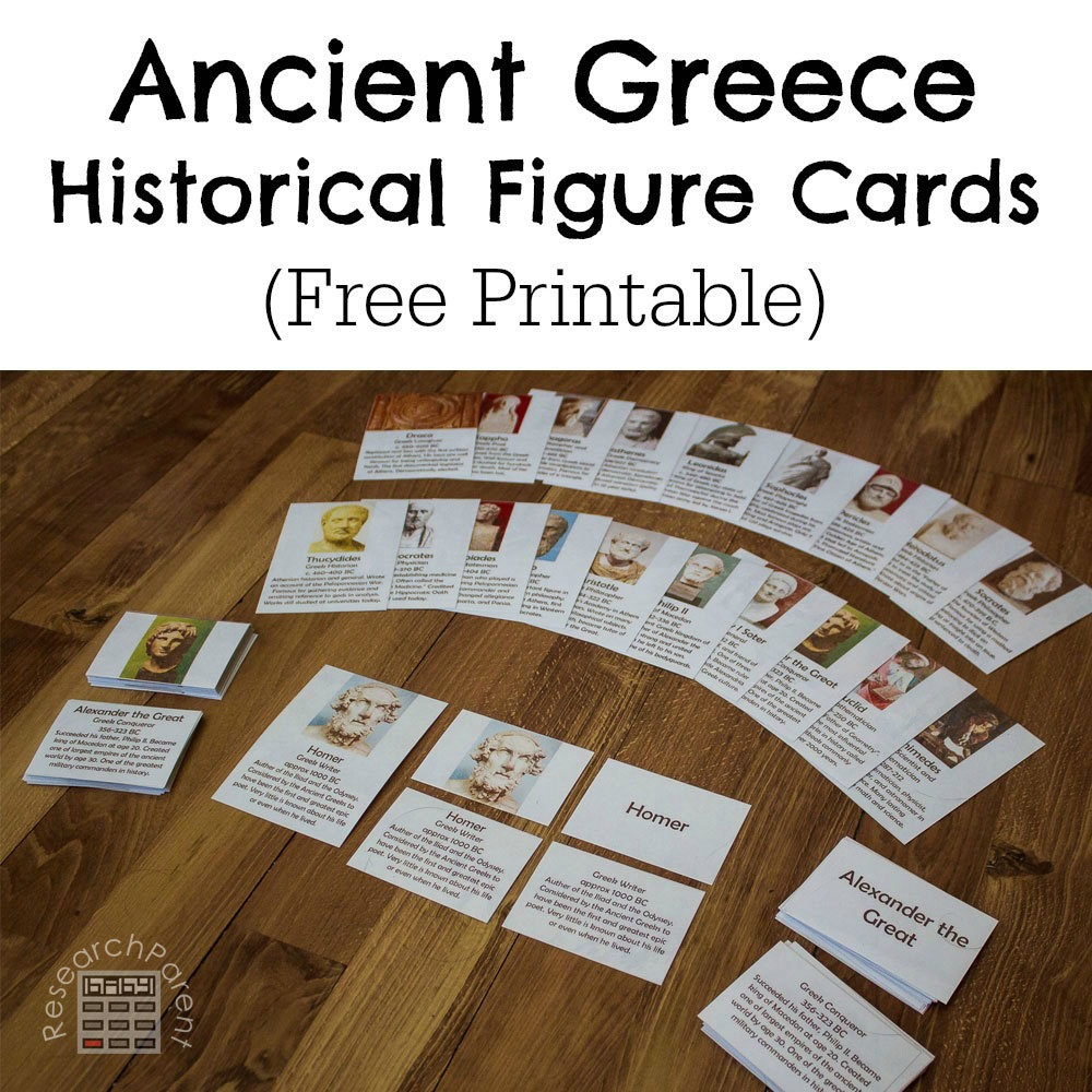 Ancient Greece Historical Figure Cards - Researchparent - Free Printable Timeline Figures