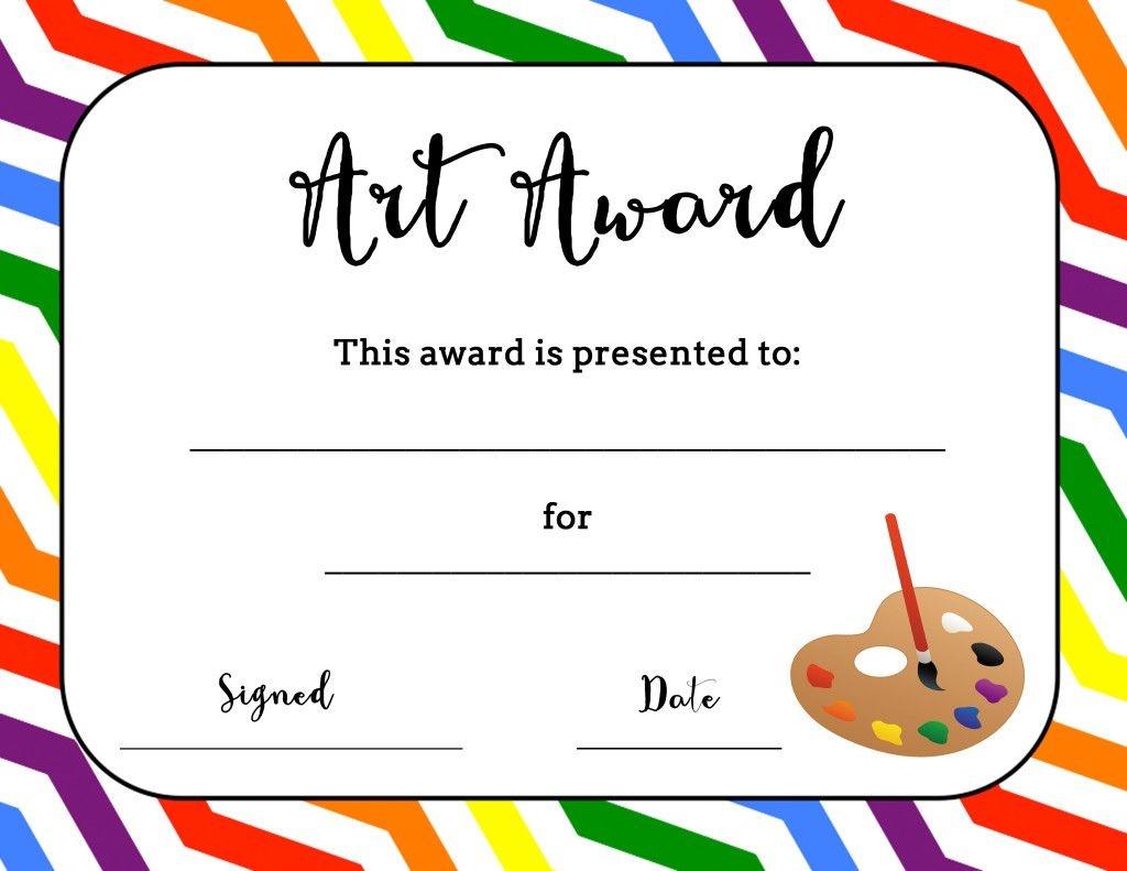 Art Award Certificate (Free Printable)   Art   Art Classroom - Good Behaviour Certificates Free Printable