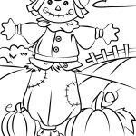 Autumn Scene With Scarecrow Coloring Page | Free Printable Coloring – Free Printable Fall Coloring Pages
