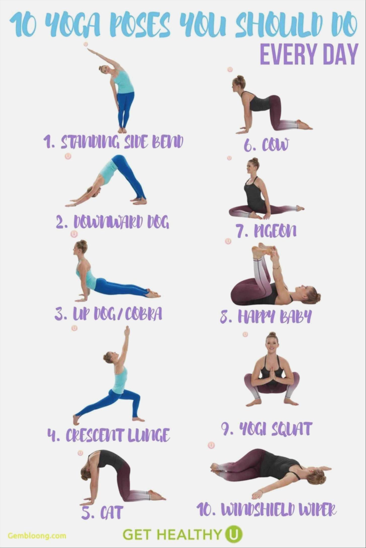 Basic Yoga Poses Chart Trinity