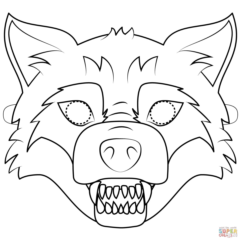 Big Bad Wolf Mask Coloring Page   Free Printable Coloring Pages - Free Printable Wolf Mask