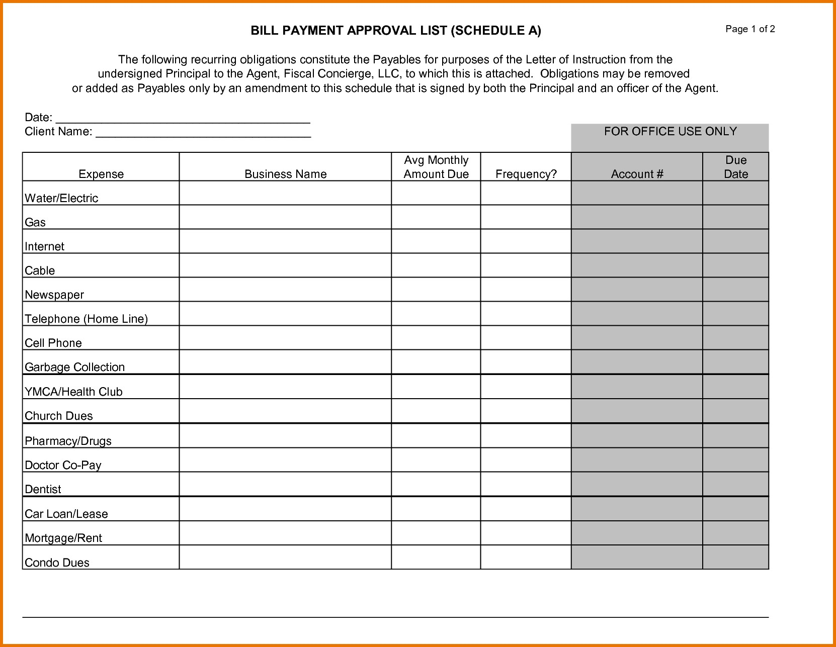 Bill Payment Schedule Template And 100 Printable Monthly ...