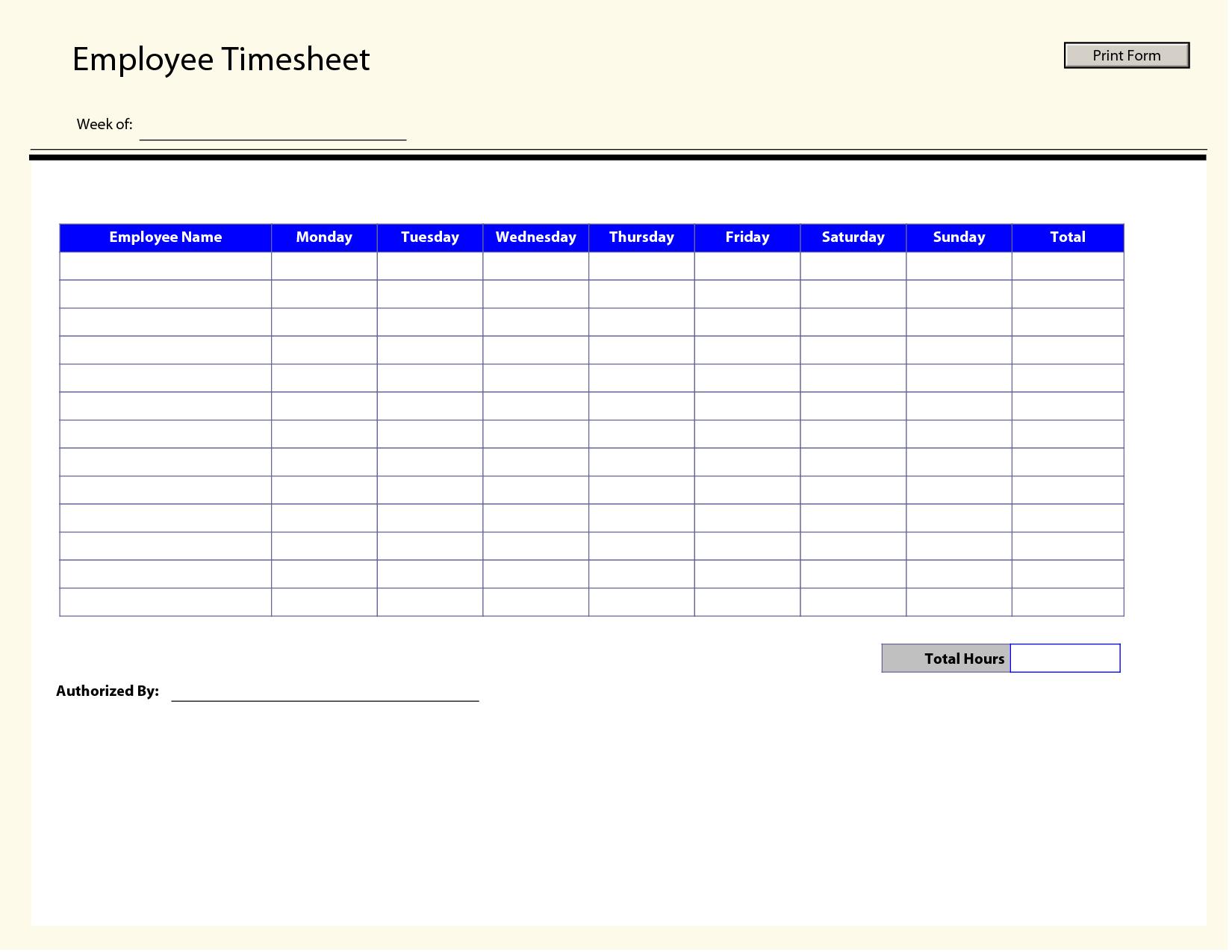 Blank Employee Timesheet Template   Management Templates   Timesheet - Free Printable Time Sheets Forms