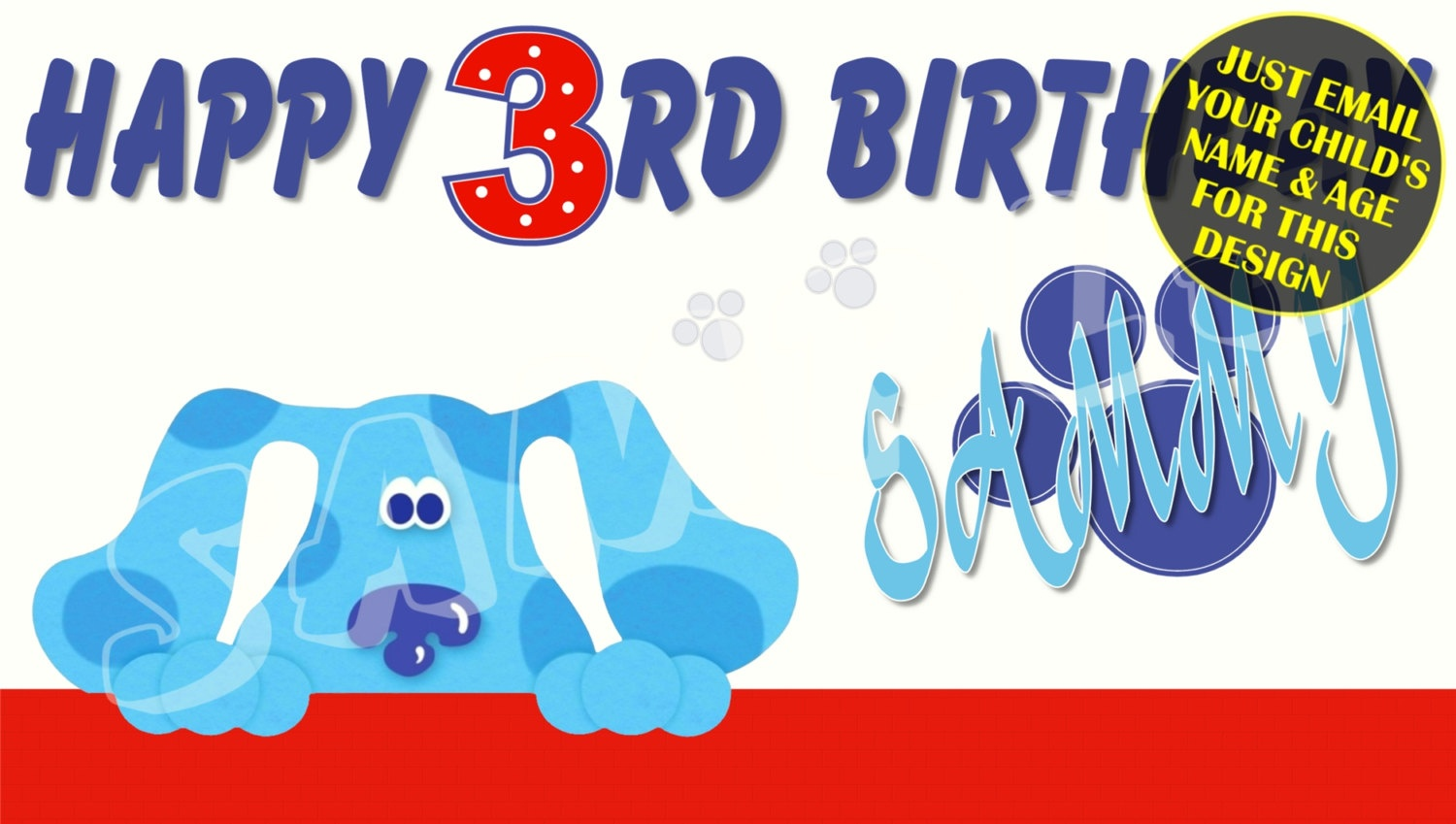 Blues Clues Personalized Birthday Banner With Free Printable   Etsy - Blue's Clues Invitations Free Printable