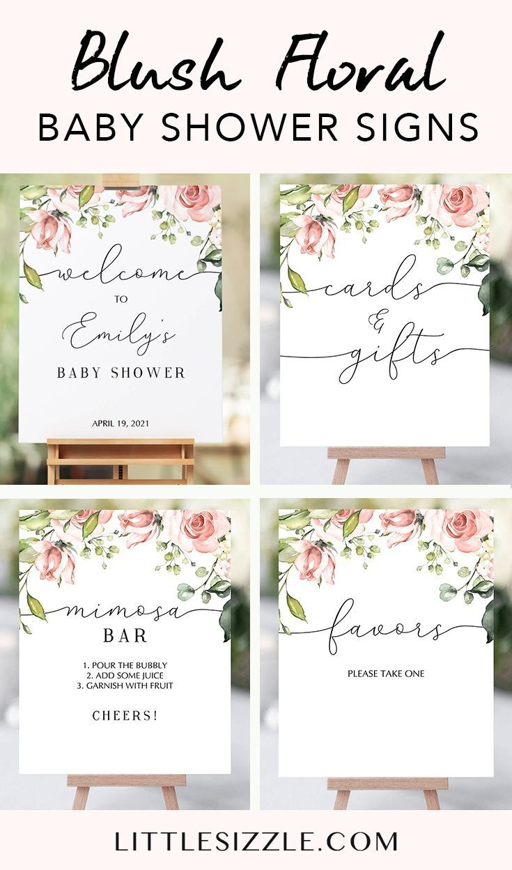 Blush Floral Baby Shower Signs Package Printable In 2019   Party - Free Printable Baby Shower Table Signs