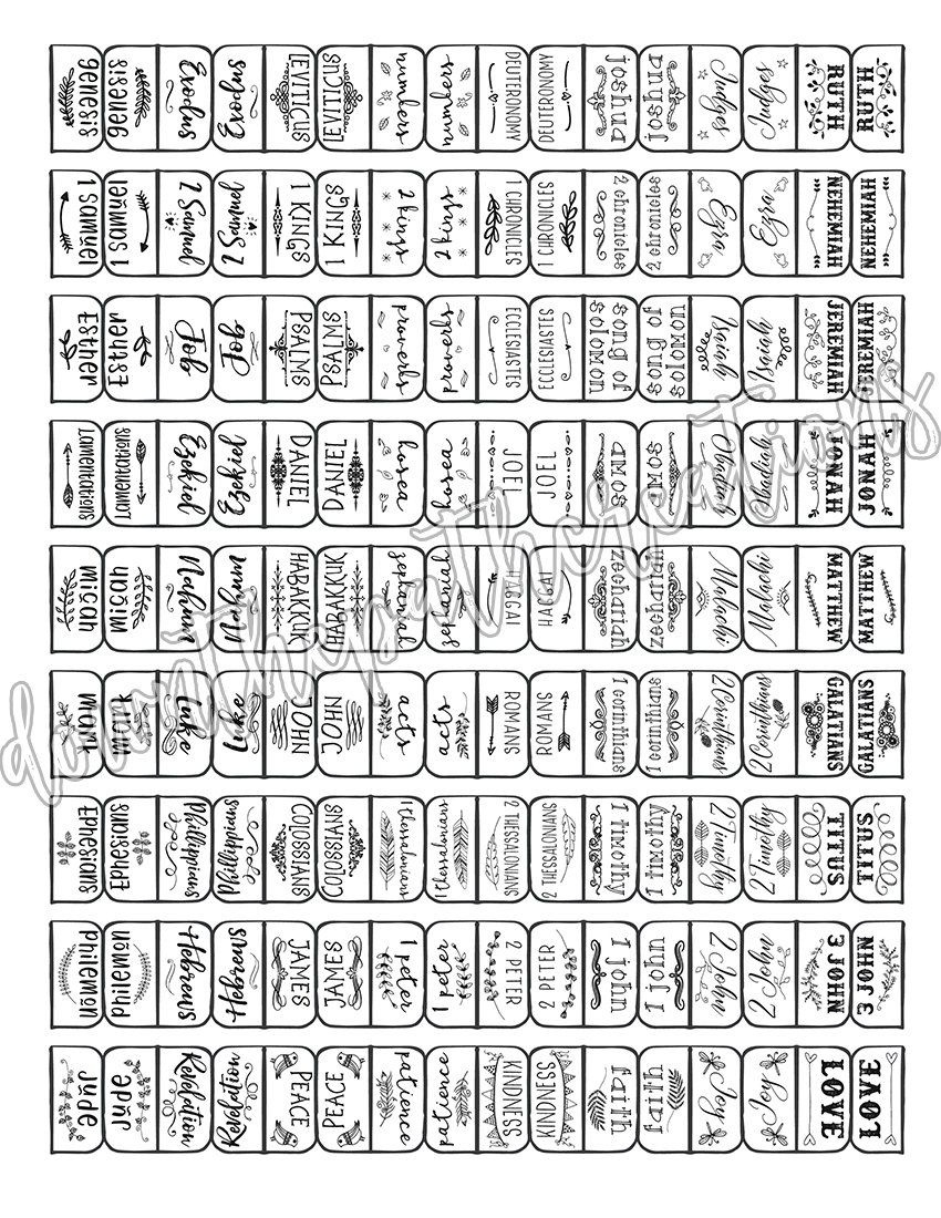 Books Of The Bible Tabs, Instant Download, Bible Journaling, Bible - Free Printable Books Of The Bible Tabs