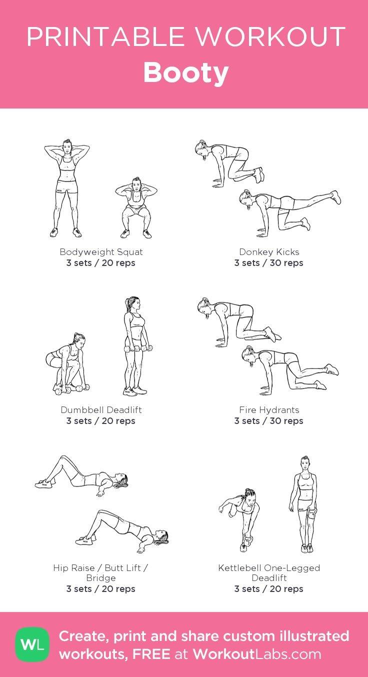 Booty: My Custom Printable Workout@workoutlabs #workoutlabs - Free Printable Gym Workout Routines