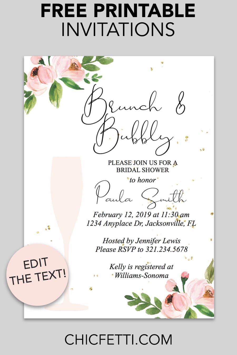 Bridal Shower Printable Invitation (Floral Bubbly | Invitations - Free Printable Wedding Invitations Templates Downloads