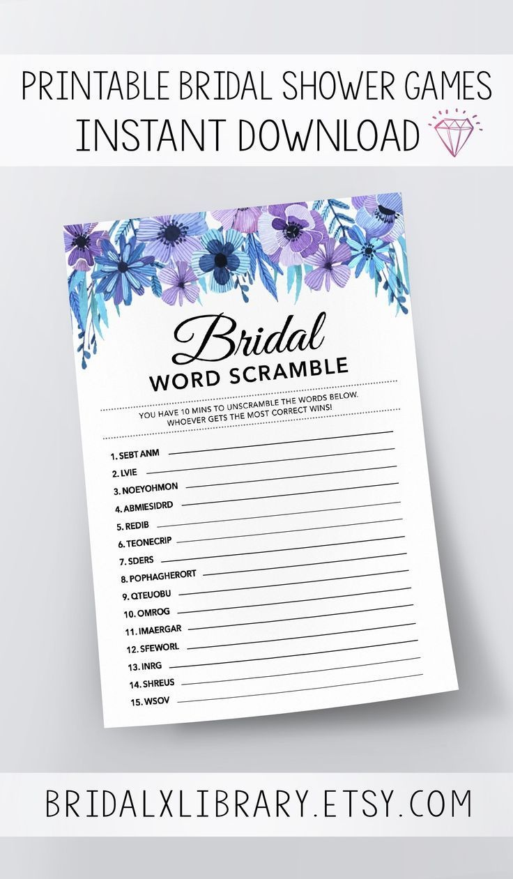 Bridal Word Scramble, Bridal Shower Games Printables, Bridal Shower - Free Printable Bridal Shower Games Word Scramble