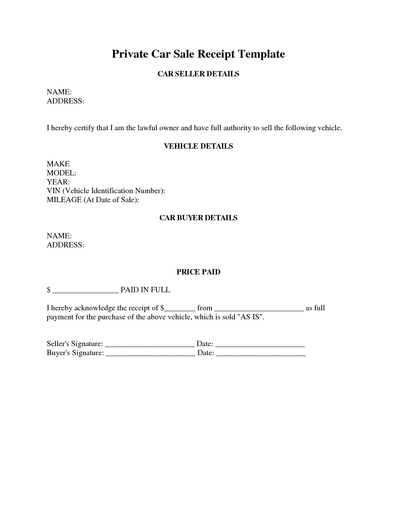 Car Sale Receipt Template | Random | Receipt Template, Sales - Free Printable Sales Receipt Form