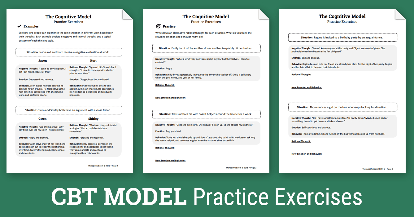 Cbt Practice Exercises (Worksheet)   Therapist Aid - Free Printable Counseling Worksheets