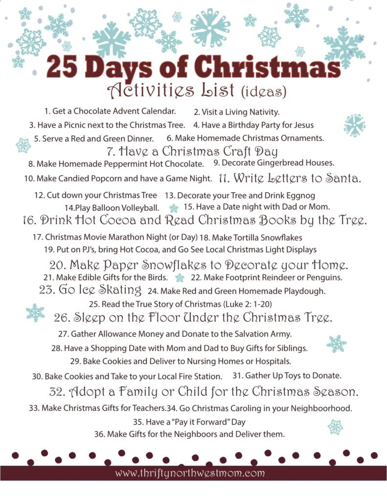 Celebrating The 25 Days Of Christmas ~ Activities List - Christmas - Free Printable Christmas Activities