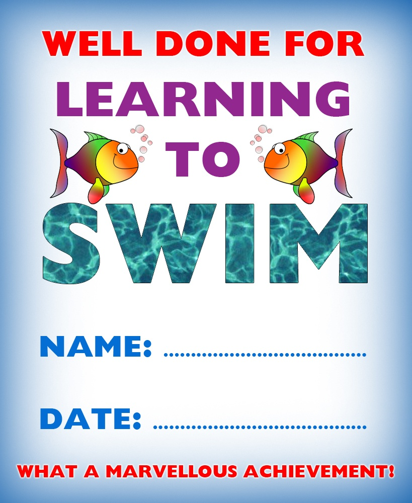 Certificate Of Achievement: Well Done For Learning To Swim | Rooftop - Free Printable Swimming Certificates For Kids